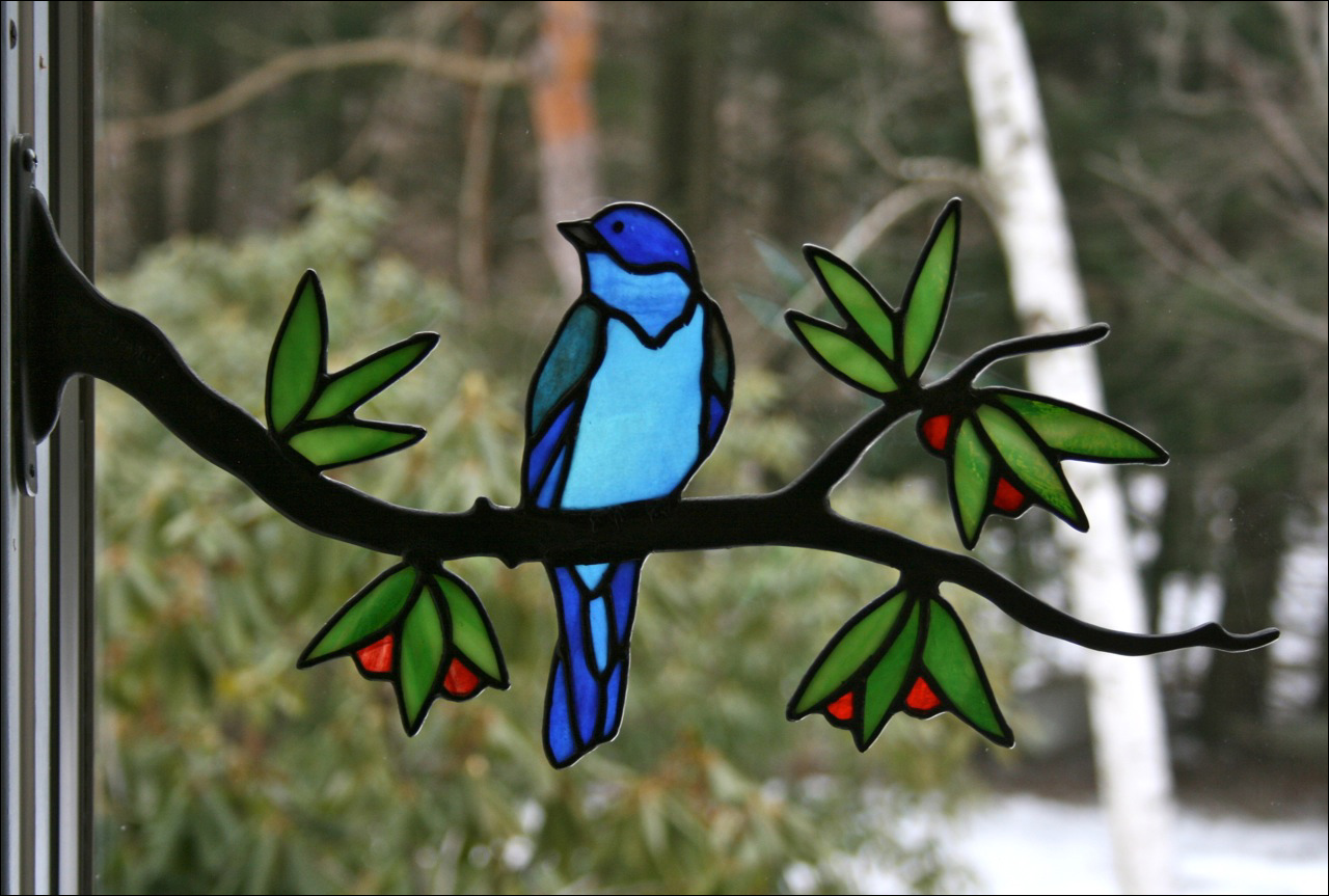 Stained Glass Blue Birds On Wire Center Grvkmr123 Circuit Diagram For Rc Cartransmitter Related Images